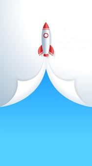 Il razzo spaziale di concetto di avvio di affari decolla il modello di storia verticale.