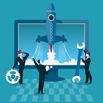 Business start up concept illustrazione vettoriale lancio di un razzo e computer su sfondo uomo d'affari s...