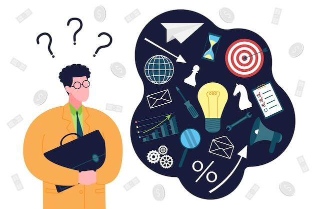 Concetto di avvio aziendale. un uomo d'affari alle prime armi è in perdita, pianifica e pensa a come avviare un'attività e mettere insieme tutti i suoi elementi. organizzazione dell'attività imprenditoriale nella fase iniziale.