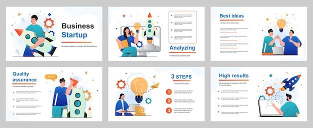 Concetto di avvio aziendale per modello di diapositiva di presentazione uomo d'affari e donna d'affari
