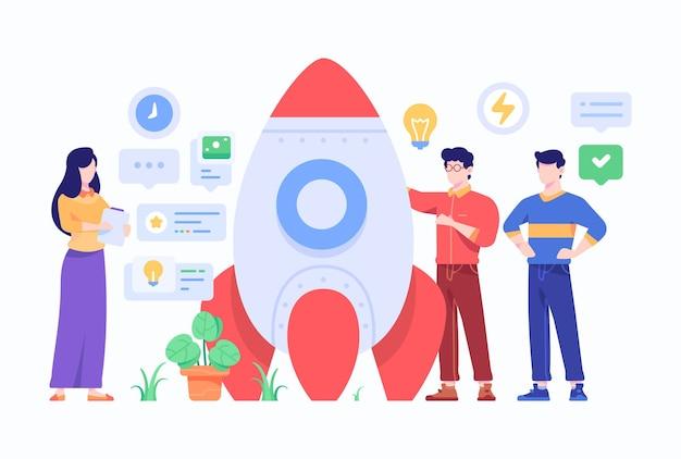 Lo sviluppatore di startup aziendali brainstorming idea per lanciare rocket design illustration