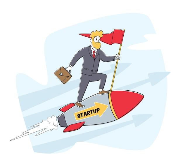 Lancio di avvio dell'attività, concetto di concorrenza. carattere dell'uomo d'affari che guida il motore a razzo che corre al successo finanziario