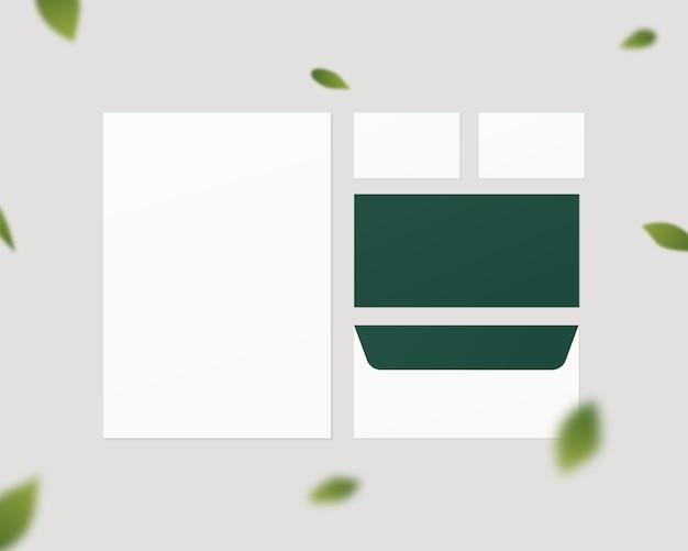 Mockup di cancelleria aziendale. insieme di modelli di identità corporativa. carta, buste, biglietti da visita. isolato. modello di progettazione. illustrazione realistica.