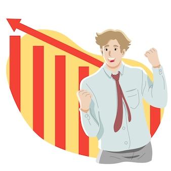 Affari, statistiche, successo, obiettivo, concetto di celebrazione