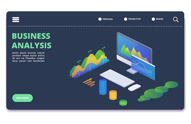 Grafici di statistiche commerciali, concetto di vettore di diagrammi. modello di banner analitica finanziaria