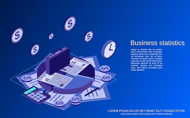 Statistiche aziendali piatto 3d isometrico concetto vettoriale illustrazione