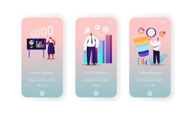 Modello di schermata a bordo della pagina dell'app per dispositivi mobili di statistiche aziendali