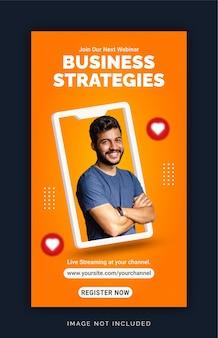 Modello di post sui social media per banner pubblicitari di strategie aziendali