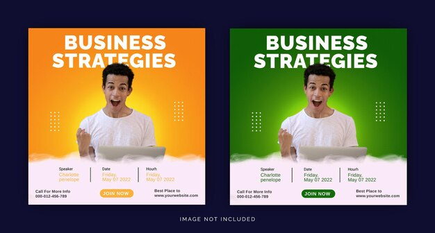Strategie aziendali con modello di banner pubblicitario per social media su instagram