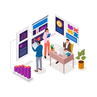 Illustrazione isometrica di analisi e strategia aziendale