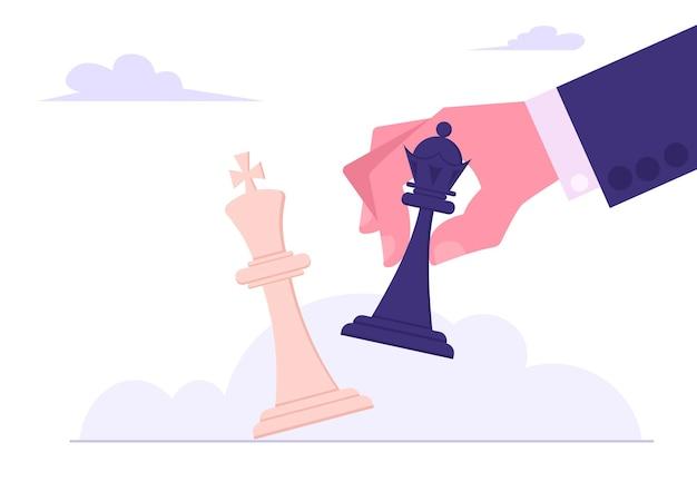 Strategia d'affari. illustrazione piana del pezzo degli scacchi del re bianco di inclinazione del re nero