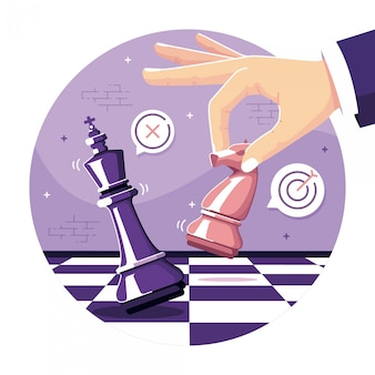 Fondo dell'illustrazione di concetto di scacchi di strategia aziendale