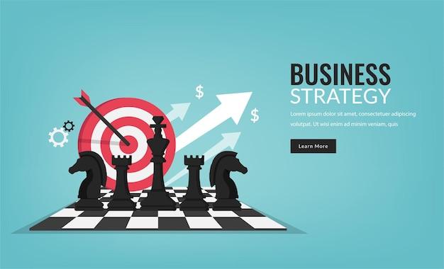 Concetto di strategia aziendale con pezzi degli scacchi simbolo e illustrazione di destinazione. Vettore Premium