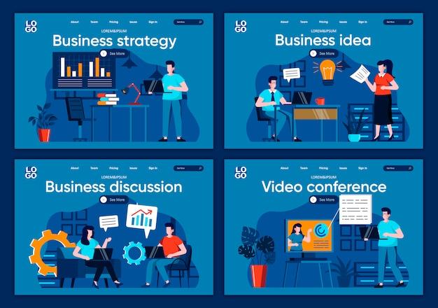 Set di pagine di destinazione piane di strategia aziendale. presentazione dell'idea con scenari analitici, di partnership e di lavoro di squadra per il sito web o la pagina web cms. discussione di idea di affari, illustrazione di videoconferenza