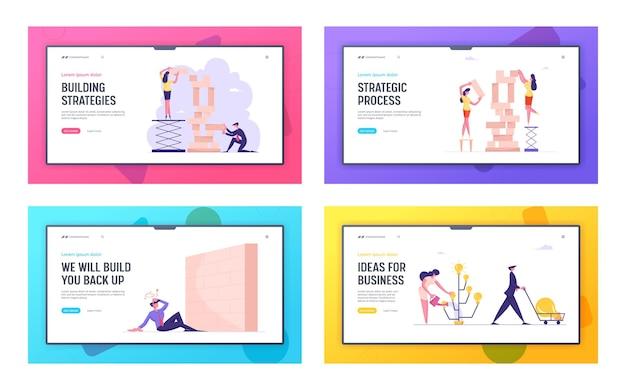 Produzione di idee di strategia aziendale e barriera nella pagina di destinazione del sito web per la carriera