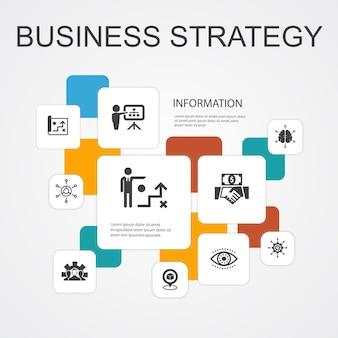 Strategia aziendale infografica modello di icone a 10 linee.pianificazione, modello di business, visione, sviluppo icone semplici