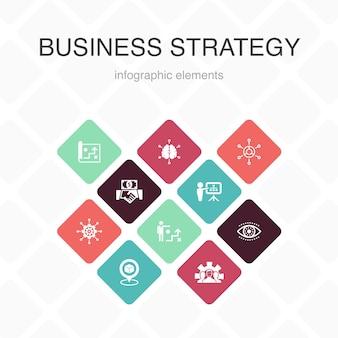 Strategia aziendale infografica 10 opzioni colore design.pianificazione, modello di business, visione, sviluppo icone semplici
