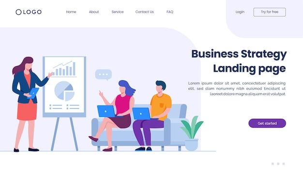 Modello di illustrazione del sito web della pagina di destinazione della strategia aziendale