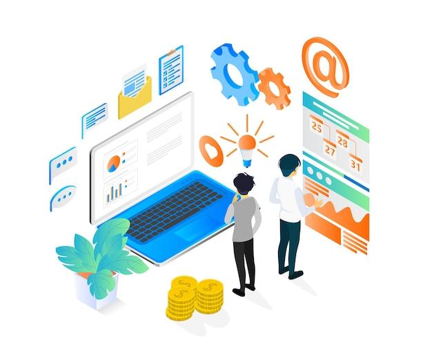 Illustrazione di stile isometrico di pianificazione di strategia aziendale con personaggio e laptop