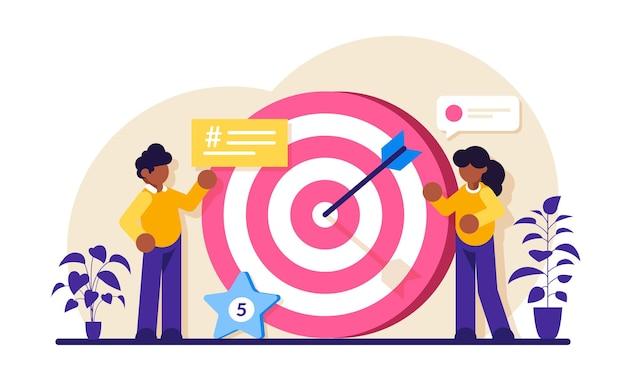 Strategia aziendale o visione grande obiettivo con il lavoro di squadra delle persone spostare verso l'alto il raggiungimento degli obiettivi di motivazione