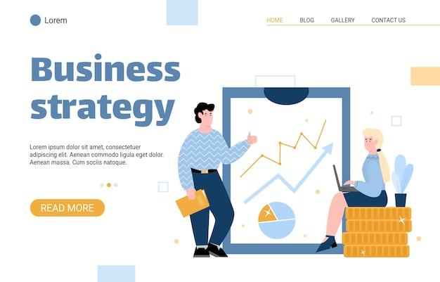 Banner web di strategia aziendale o illustrazione piatta di vettore del fumetto della pagina di destinazione.