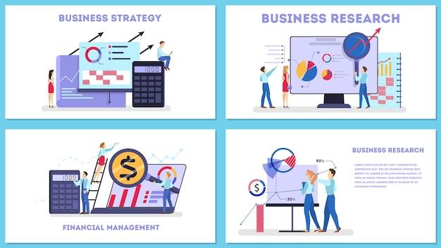 Insieme di concetto di web di strategia aziendale. ricerca di mercato
