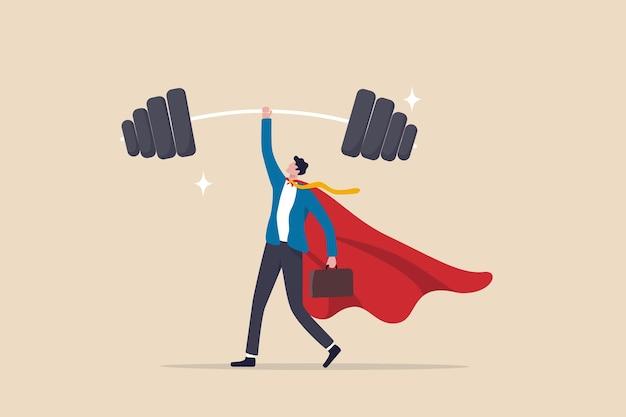 Punti di forza aziendali, forte potere di portare a termine il lavoro e successo, sfida di carriera o abilità vincente con un forte concetto di leadership, un forte eroe d'affari mostra la sua forza sollevando facilmente pesi pesanti.