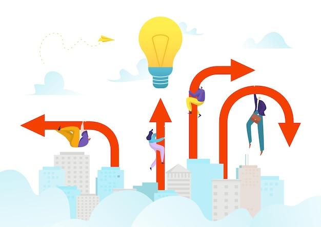 Freccia di successo aziendale all'illustrazione di raggiungimento degli obiettivi