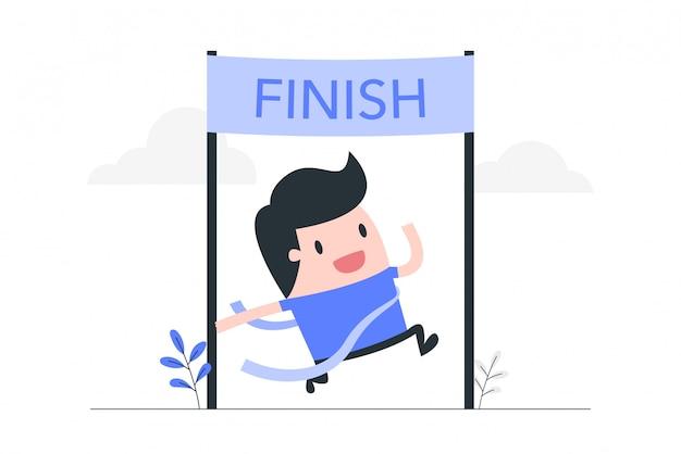 Illustrazione di concetto di successo aziendale. Vettore Premium