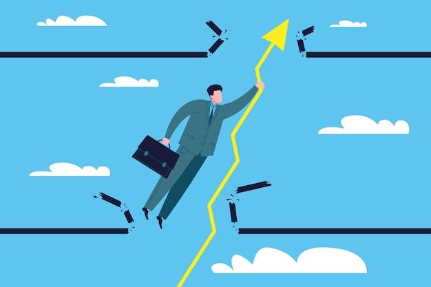 Concetto di successo aziendale. un uomo d'affari fortunato rompe il tetto finanziario, colpisce la parte superiore, aggrappandosi alla freccia del grafico delle vendite come simbolo di crescita dei profitti, delle azioni o degli investimenti