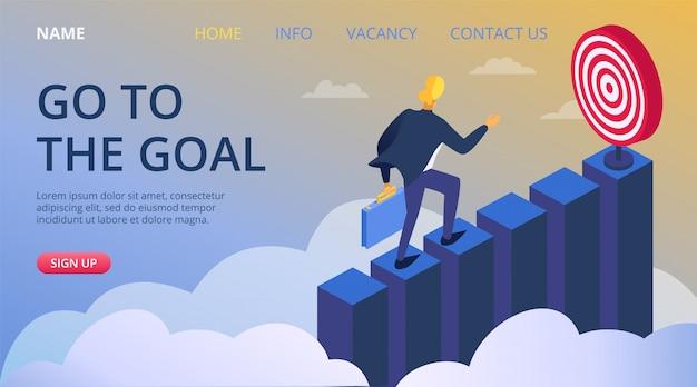 Raggiungimento dell'obiettivo di successo aziendale, illustrazione di concetto di progresso della gente di leadership. obiettivo di carriera di marketing, arrampicata sfida uomo d'affari. sviluppo del manager dei dipendenti per scopo.