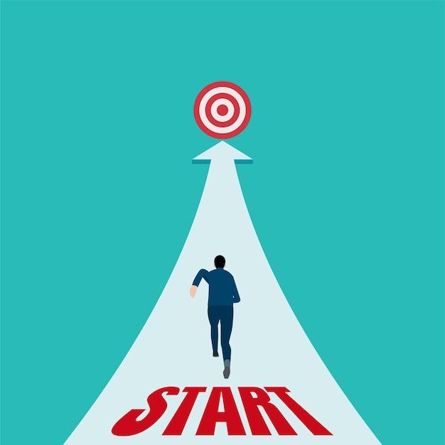 Obiettivi di successo aziendale. l'uomo d'affari corre sulla linea di partenza e vede la metafora di destinazione dell'avvio.