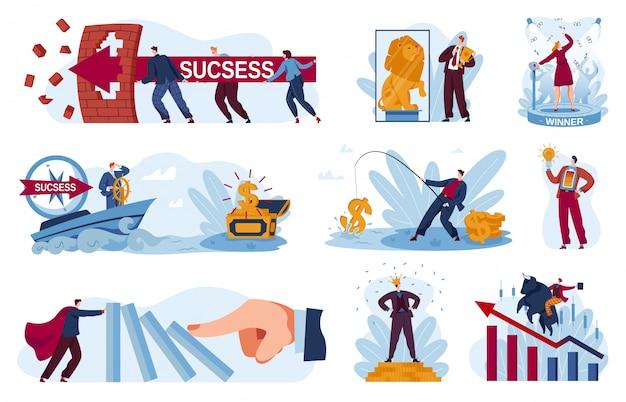 Illustrazioni di successo aziendale, vincitore dell'uomo d'affari del fumetto che tiene la tazza dorata del trofeo di conquista, eading la gente all'obiettivo riuscito