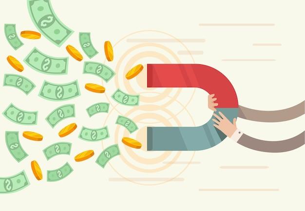 Successo aziendale. il magnete attira i soldi.