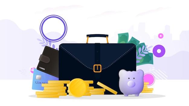 Valigia da lavoro, portafoglio marrone con carte di credito e monete d'oro. valigia da uomo con carte bancarie. il concetto di risparmio e accumulo di denaro.