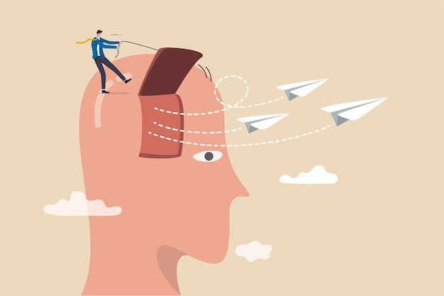 Supporto aziendale per lanciare una nuova idea di avvio, imprenditorialità per avviare nuove attività, supporto per liberare la mente per idee creative, uomo d'affari apre la finestra della testa per lanciare origami di aeroplani di carta.