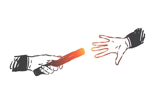 Supporto aziendale, lavoro di squadra, illustrazione del concetto di staffetta