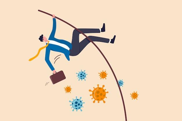 Affari per sopravvivere alla crisi del coronavirus o alla risoluzione di problemi di successo e raggiungere l'obiettivo aziendale nel concetto di pandemia covid-19, leader fiducioso dell'uomo d'affari salta con l'asta sul patogeno del coronavirus.