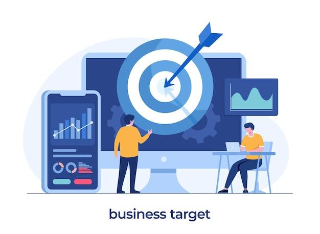 Concetto di obiettivo aziendale, analista aziendale, lavoro di squadra, realizzazione, pianificazione e strategia, dardo, illustrazione piatta vettore