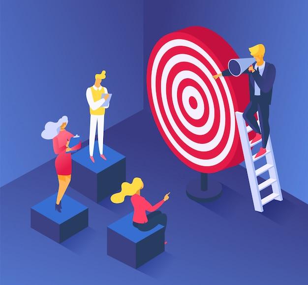 Concetto di obiettivo aziendale, raggiungimento degli obiettivi per l'illustrazione di successo delle persone. strategia del carattere dell'uomo per la leadership, uomo d'affari insegna il progresso del marketing. sfida per raggiungere la crescita.