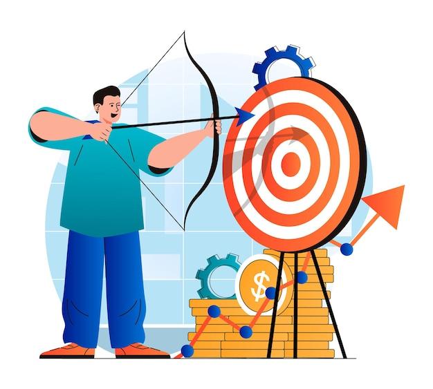 Concetto di obiettivo aziendale in un moderno design piatto l'uomo d'affari tira l'arco al bersaglio