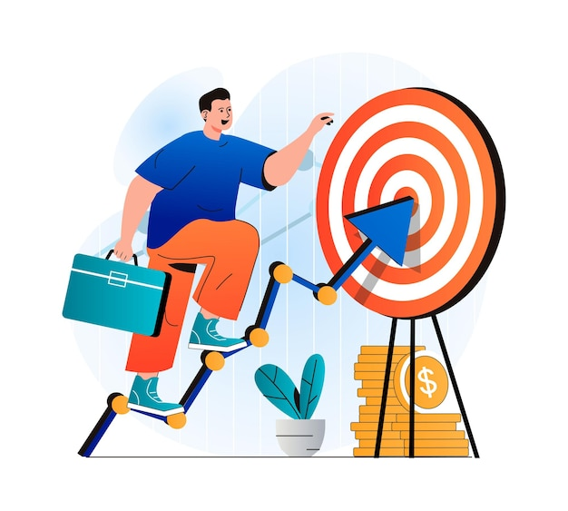 Concetto di obiettivo aziendale in un moderno design piatto l'uomo d'affari con la valigetta sale sulla freccia