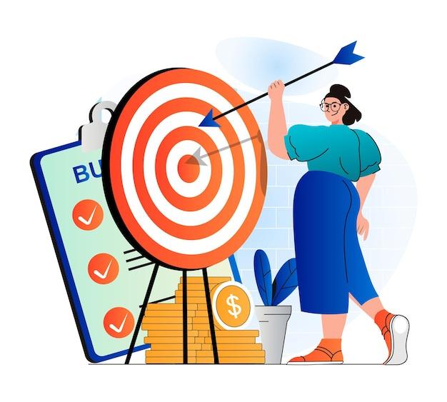 Concetto di obiettivo aziendale in un moderno design piatto la donna d'affari tiene la freccia e mira al bersaglio