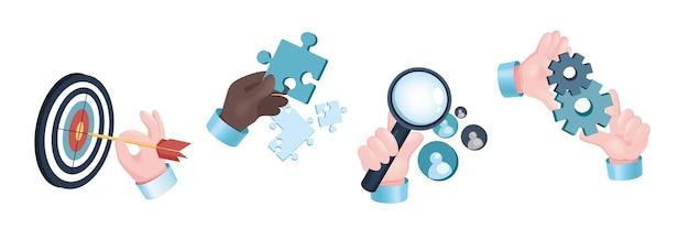 Set di mani di concetto grafico obiettivo aziendale. le mani umane tengono una freccia vicino al bersaglio, pezzi di puzzle, lente d'ingrandimento per la ricerca, ingranaggi. innovazione, generazione di idee. illustrazione vettoriale con oggetti realistici 3d