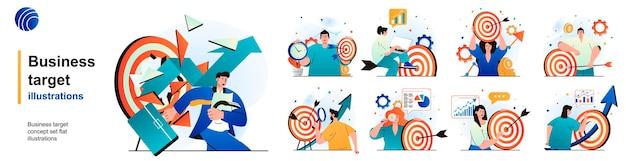 Obiettivo aziendale isolato set obiettivi raggiungimento strategia di successo nella carriera di scene in design piatto