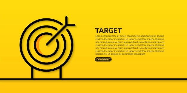 Progettazione della linea di destinazione aziendale su sfondo giallo, obiettivo aziendale e concetto di successo