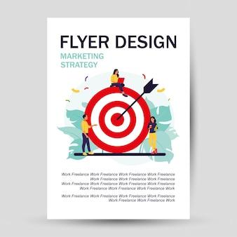Squadra di affari che raggiunge l'obiettivo. disegno del volantino. concetto di strategia di marketing. persone vicino a un obiettivo enorme