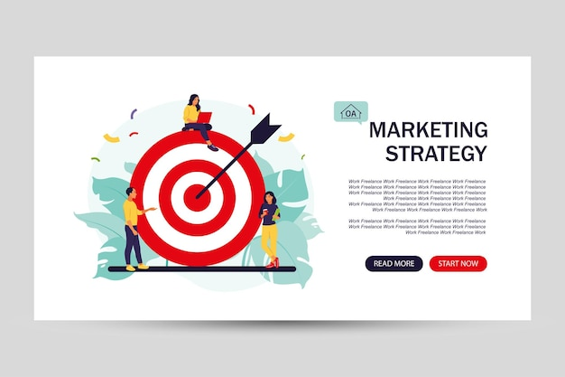 Squadra di affari che raggiunge l'obiettivo. pagina di destinazione per il web. concetto di strategia di marketing. la gente si avvicina all'obiettivo enorme con la freccia. illustrazione vettoriale. appartamento isolato.