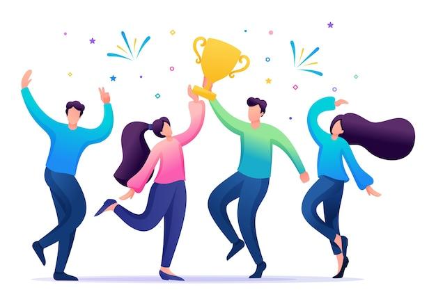 Il team aziendale celebra il successo. la gente salta e si rallegra per il premio, la coppa.