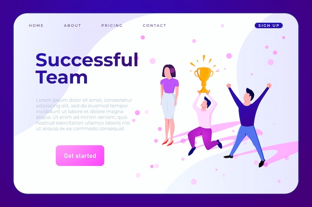 Squadra di affari che celebra il modello web di successo
